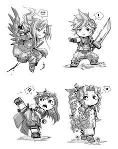 Crimson Sun Chibi Sephiroth, Cloud, Tifa, and Aeris