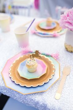 Unicorn place setting from a Magical Unicorn Birthday Party on Kara's Party Ideas | KarasPartyIdeas.com (36)
