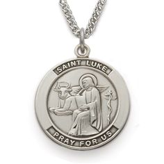 St. Luke, Patron Of Doctors & Surgeons, Sterling Silver Medal http://www.truefaithjewelry.com/sm8409sh.html