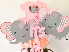 Pink And Gray Elephant Baby Shower Centerpiece, Pink and Gray Baby Shower Decorations by AllDiaperCakes on Etsy