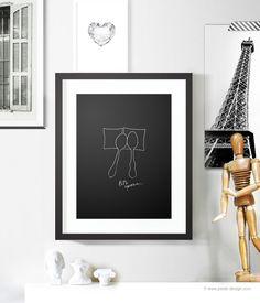 לישון כפיות - פוסטר מינימליסטי - שחור גודל A4 | Petek Design | מרמלדה מרקט