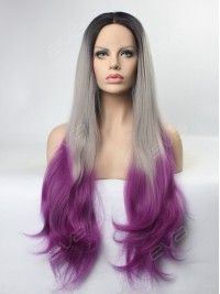 EvaHair Black to Grey to Pastel Plum 3 Color Hair Synthetic Lace Front Wig