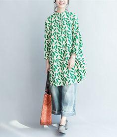 Yesno QP5 Women Button-Down Shirt Blouse Dress 100% Linen 'Leaves' Hi-Low Split Round Hem Mandarin Collar at Amazon Women's Clothing store: