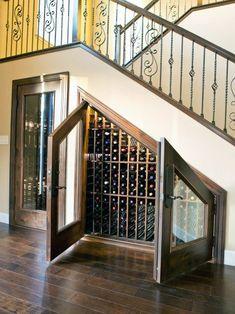 Wine Cellar Under the Stairs . Wine Cellar Under the Stairs . Wine Room Under the Stairs Goals Winestorage Under Stairs Wine Cellar, Wine Cellar Basement, Space Under Stairs, Bar Under Stairs, Wine Rack Design, Cellar Design, Home Wine Cellars, Wine Storage, Storage Ideas
