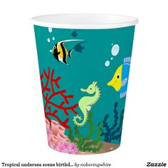 Tropical undersea scene birthday party paper cup