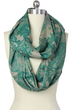 Saachi | Green Lace Print Infinity Scarf