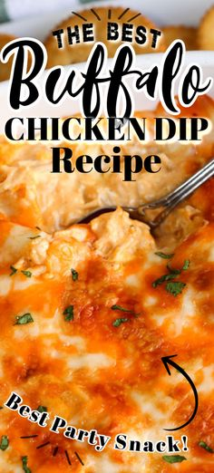This is the best BUFFALO CHICKEN DIP recipe ever (with VIDEO). It's an easy 5 ingredient recipe for your next party or potluck. Creamy cheesy and tastes like buffalo chicken wings dipped in ranch dressing. Buffalo Chicken Wing Dip, Buffalo Chicken Dip Recipe, Chicken Dips, Best Chicken Recipes, Buffalo Dip, Potluck Recipes, Dip Recipes, Meat Recipes, Appetizer Recipes