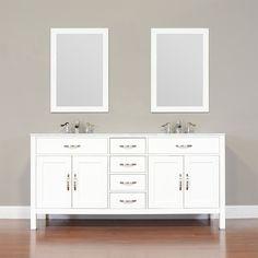 "ALYA-FW-8016-72-W-NT 72"" White Double Contemporary Bathroom Vanity | Optional Countertop"