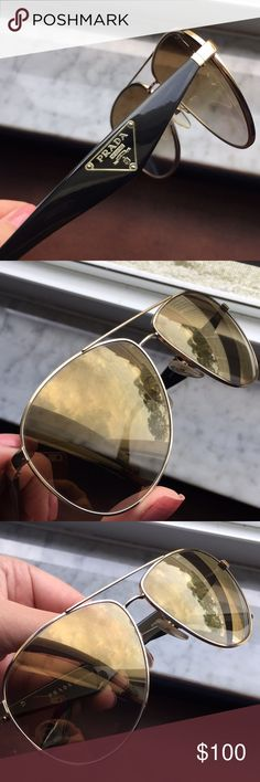 Prada aviator sunglasses slightly scratched lens, carrying case is slight broken from side, comes with lens cloth and box Prada Accessories Glasses