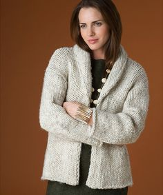Perfect for a brisk #fall day! Lion Brand Wool-Ease Thick & Quick Autumn Cardigan #knit #pattern #acmoore