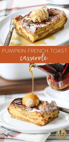 This overnight Pumpkin French Toast Casserole is a delicious and easy fall breakfast recipe! This overnight Pumpkin French Toast Casserole is a delicious and easy fall breakfast recipe! Breakfast And Brunch, Breakfast Dishes, Breakfast Recipes, Gourmet Breakfast, Banana Breakfast, Breakfast Pancakes, Pumpkin Recipes, Fall Recipes, Pumpkin Pumpkin