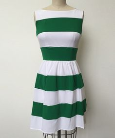 Look what I found on #zulily! White & Kelly Green Stripe A-Line Dress - Women #zulilyfinds