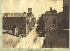 Kingsway Valletta Malta in 1859. Pre Opera House and pre Buttigieg Francia building.