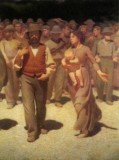 """Pellizza da Volpedo -Particolare delle figure centrali del dipinto """"Quarto Stato"""" 1901"""