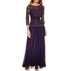 Jackie Jon 3/4 Sleeve Evening Gown - JCPenney
