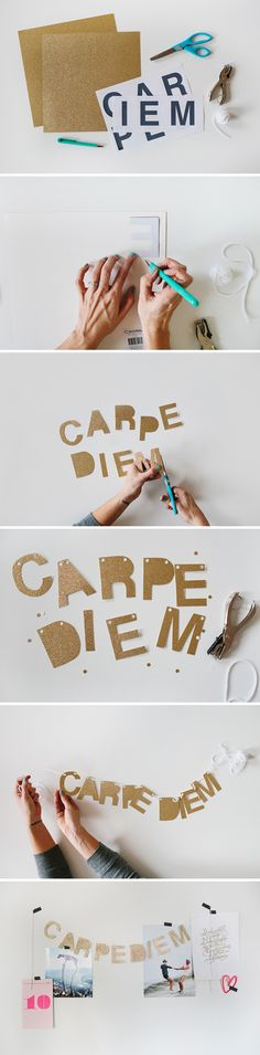 Make this beautiful, fun carpe diem glitter banner!  Perfect DIY for kids, teens and adults!  Detailed instructions can be found by clicking the photo!  Have fun!