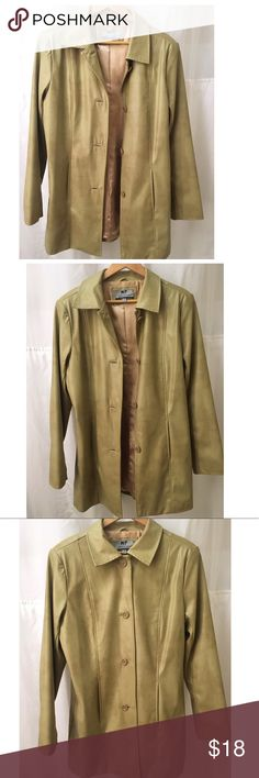 Marcelle Renee Signature L Gold Vinyl Type Trench In Good Condition Jackets Coats Trench Coats Jackets Jackets For Women Colorful Coat