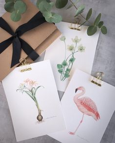 Save the Date Projects: Watercolor Illustration of Flowers & a Flamingo
