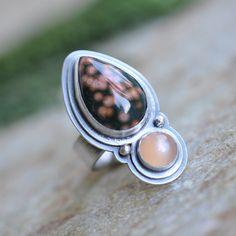 Ocean Jasper and Peach Moonstone Ring in Oxidised Sterling Silver - Token Ring in Peach