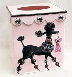 Retro Poodle tissue box cover