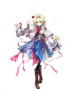 Alice Margatroid - Seven-Colored Puppeteer (Perfect Cherry Blossom - stage 3 midboss and boss) Alice Liddell, Manga Girl, Manga Anime, Anime Art, Touhou Cosplay, Circus Outfits, Character Art, Character Design, Fanart