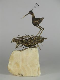 C. Jere' Sandpiper and Bird's Nest Table Sculpture | From a unique collection of antique and modern sculptures and carvings at https://www.1stdibs.com/furniture/folk-art/sculptures-carvings/