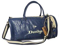 ae9f8bdf1643da Dunlop Retro Gym Holdall Sports Weekend Barrel Shoulder Bag Navy Blue &  Cream