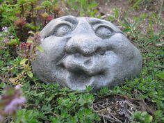 Garden Rock Face Concrete Garden Face Funny Face Rocks With Faces Garden Decor Rock Faces Garden Rock Stone Faces Fairy Garden Rock Concrete Crafts, Concrete Art, Concrete Garden, Concrete Projects, Garden Crafts, Garden Projects, Garden Whimsy, Garden Ornaments, Dream Garden