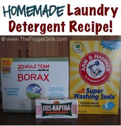How to Make Homemade Laundry Detergent.... similiar to my recipe...double the amount of each ingredient and keep the water the same.