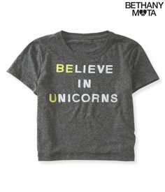 Unicorns Crop Graphic T from Bethany Mota Collection Aeropostale