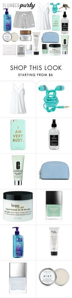 """""""Sleep on it! Slumber Party Style"""" by nclarke-evelyn ❤ liked on Polyvore featuring Dondup, ban.do, Little Barn Apothecary, Clinique, MICHAEL Michael Kors, Butter London, rms beauty, Herbivore and slumberparty"""