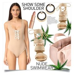 """NUDE"" by ainzme ❤ liked on Polyvore featuring Marysia Swim, Corto Moltedo, Marni, Schutz and Charlotte Tilbury"