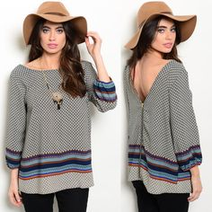 Relaxed fit woven top features mixed print, 3/4 sleeves and v-back. - -- Spring Summer Fall Winter Fashion. www.psiloveyoumoreboutique.com