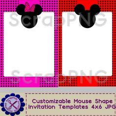 Mouse Invitations Customizable Printable 4x6 Templates Pink Red - $1.99 : ScrapPNG, Digital Craft Graphics