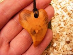 Handcarved wood love heart necklace made from by Irishblackthorn, €28.00