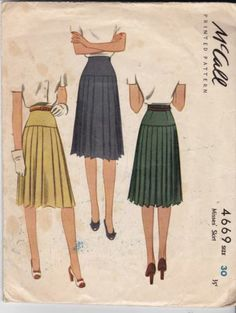 1940s VINTAGE SEWING PATTERN MISSES' PLEAT SKIRT SIZE 30 INCH #G1112 | eBay