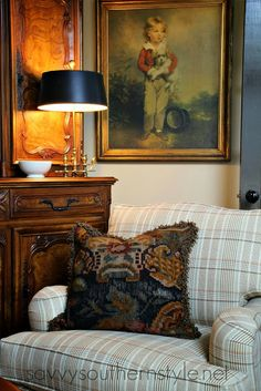 sitting room, cozy, equestrian, English country, French country, antiques, vasselier, dog pictures, ironstone, kilm pillow, Pottery Barn pillows, Ballard's pillows, aubusson pillow