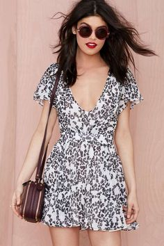 Nasty Gal Flirting with Danger Chiffon Dress - Fit-n-Flare | Day | Going Out | Dresses