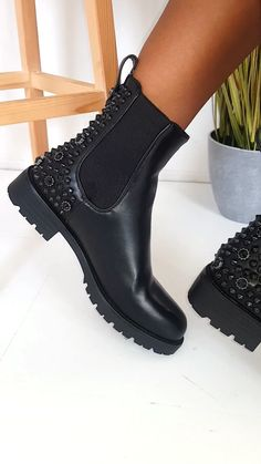 Kyle Embellished Ankle Boots in Black - faux leather material , slip on style with elasticated sides and embellished detailing at the back. Ankle Boots, Shoe Boots, Shoes Heels, Flat Boots Outfit, Black Combat Boots, High Boots, Fashion Boots, Sneakers Fashion, Latex Fashion