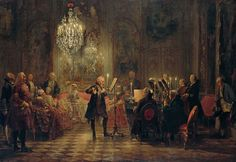 The Flute Concert of Sanssouci by Adolph Menzel, 1852, depicts Frederick playing the flute in his music room at Sanssouci. C. P. E. Bach accompanies him on the harpsichord.