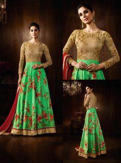 Green Raw Silk Long Anarkali Suit 80014