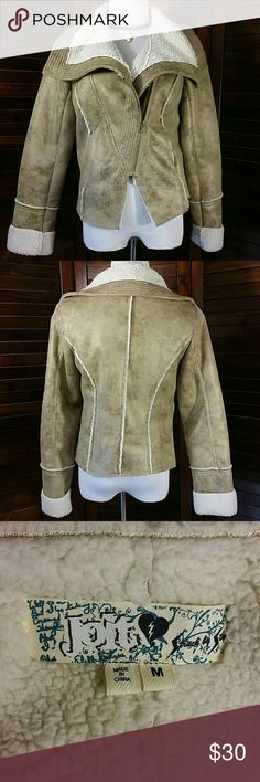 """Trendy Bomber Jacket Faux leather and shearling, angle zip drape collar. 100 % Polyester  19 """" across chest lying flat, 23 """" long Jolt Jackets & Coats"""