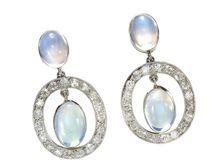 Celestial Moonstone Platinum Earrings