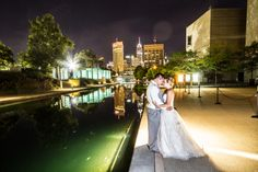 We never get tired of gorgeous evening photos taken from our Lower Terrace! Honestly, is there any better view of downtown Indy than this?  Photo by Brian McGuckin.  #Indianapolis #wedding #venue  #IndianaStateMuseum