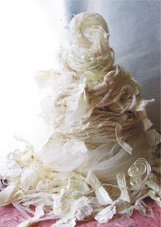 """For an awesome one-of-a-kind project! """"Handspun Art Yarn from my wedding dress - 181 yds"""""""