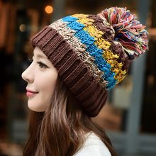 Nueva moda Color Mix bola de la piel de mujer gorro de lana de invierno de lana cálido sombreros de punto gorro Skullies y gorritas tejidas 6 Color Gorros(China (Mainland))
