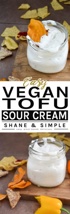 Easy Vegan Tofu Sour Cream is a much healthier than regular sour cream. Use as you would regular sour cream or even dip for chips and veggies. Vegan Sour Cream, Vegan Sauces, Vegan Dishes, Ketchup, Whole Food Recipes, Vegan Recipes, Vegan Meals, Cheese Recipes, Sauces