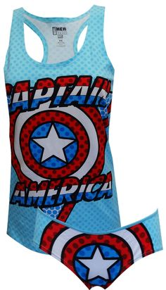 Marvel Comics Captain America Tank & Panty Set Unleash your inner superhero, ladies! These 95% cotton/ 5% spandex tank and pant...