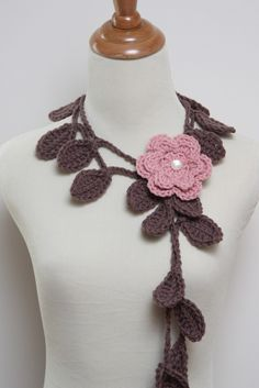 Crocheted Coffee Brown Leaf Necklace with Rose by HandmadeByLarrie