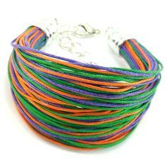 Bransoletka na bawełnianym, kolorowym sznurku jubilerskim ( fioletowym, zielonym i pomarańczowym ) w minimalistycznym stylu. Lens, Metal, Fashion, Moda, Fashion Styles, Klance, Metals, Fashion Illustrations, Lentils